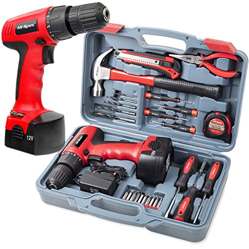 Hi-Spec 26 Piece Household DIY Tool Kit with 12V Cordless Wood & Plastics Drill Driver with 800mAh Rechargeable Battery. Accessory Set of Hand Tools in a Storage Case