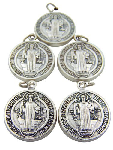 - Religious Gifts Lot of 5 Silver Toned Base Tone Saint Benedict Protection From Evil Sacremental Devotion 1 Inch Medal