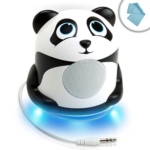 GOgroove Portable Multimedia Speaker with High-Excursion Driver and Panda Design - Works With Apple iPhone 6s , Samsung Galaxy Note 5 , LG G4 & more SmartphonesIncludes Cleaning Cloth by GOgroove