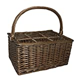 Wicker Willow Antique Wash 6 Bottle Wine Carrier