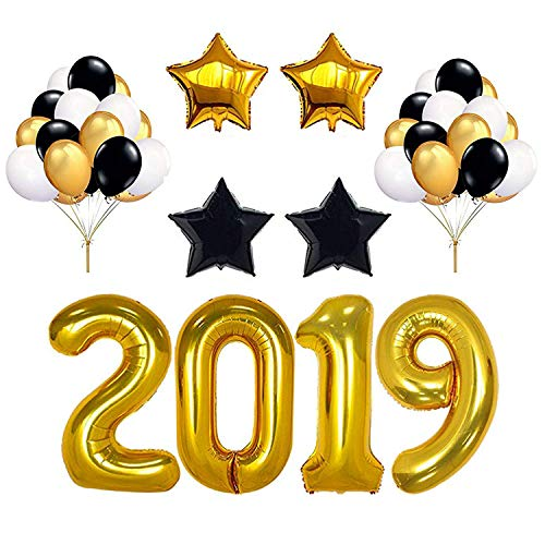 2019 Gold Balloon, 30pcs Gold White Black Latex Balloons, 4pcs Foil Star Balloons Congrats Balloons for College High School Graduation Party Decoration New Years Eve Party Supplies]()