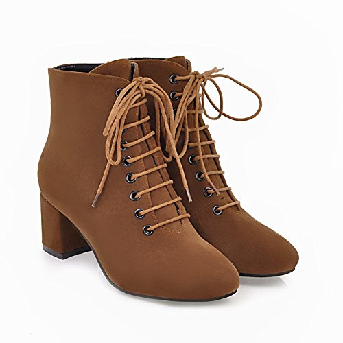 Carolbar Womens Lace Up Vintage Comfort Retro Mid Heel Short Boots Brown (Nubuck) 1PxLNJx
