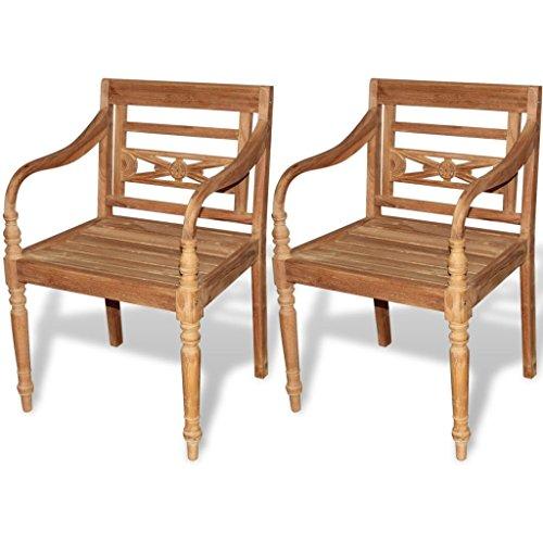 (vidaXL 2 pc Teak Wood Dining Arm Chair Outdoor Garden Patio Furniture Batavia)