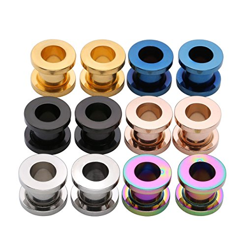 PiercingJ 12pcs 12G-3/4(2MM-20MM) Stainless Steel Screw Flesh Tunnels Plug Ear Expanders Stretchers ()