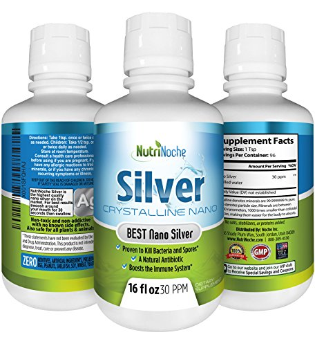 NutriNoche Colloidal Silver Mineral Liquid Supplement - Daily Immune System Support - Colloidal Nano Silver 30 PPM (16 (Mineral Beauty System)