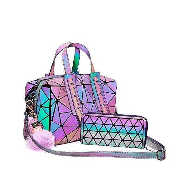 Geometric Handbag Luminous Women Tote Bag Holographich Purses and Handbags Flash Reflactive Crossbody Bag for Women