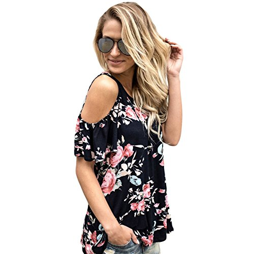 Akabela Womens Casual Floral Print Cold Cut Out Shoulder Short Sleeve T Shirt Tops Blouse