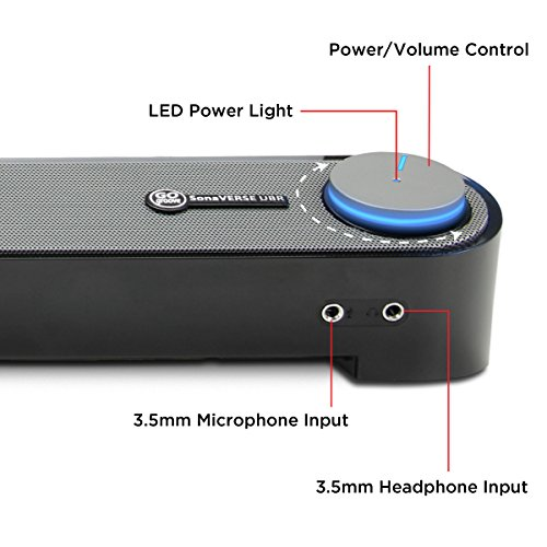 GOgroove Computer USB Powered Mini Sound Bar - SonaVERSE UBR Wired Soundbar Speaker 16.5'' w/Front Access Mic & Headphone Jacks, LED Volume Dial, Angled Design for Desktop, PC, Laptop (Black) by GOgroove (Image #2)