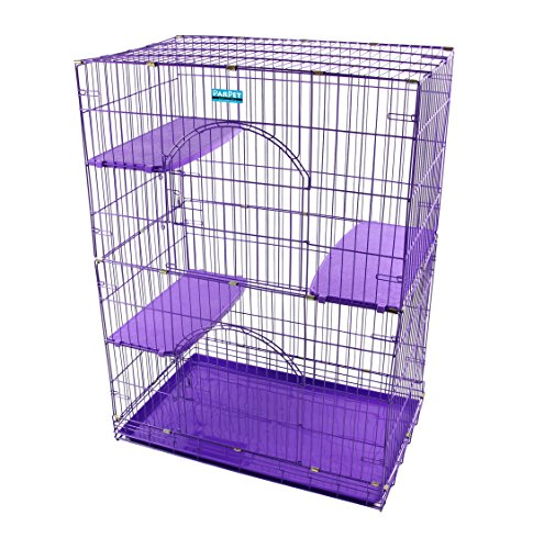 (PARPET Foldable Cat Wire Cages/Pet Playpen,2 Door, Includes 3 Perches, Tray& 4 Locking Casters (Purple))