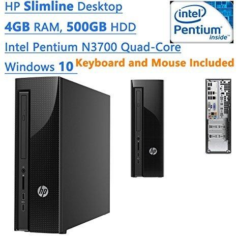 Newest HP Slimline Desktop PC  Intel Pentium N3700 Quad-Core  2.4 GHz  4GB DDR3L  500GB HDD  SuperMulti DVD/CD burner  WIFI  HDMI  Adequate high-bandwidth  Windows 10  Black  Keyboard and Mouse