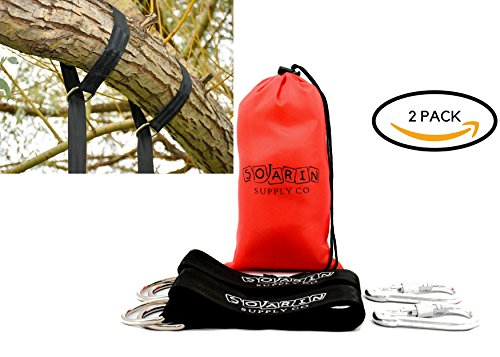 Soarin Supply Co Tree Swing Hanging Kit Set with Screw Carabiner Hooks | Adjustable Long 5 ft Straps Holds 2000 lbs | Perfect for Tree Swing, Hammock, Tire Swing & Swing Set | Set of 2