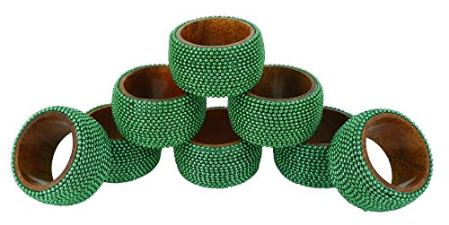 Aluminum Napkin Rings - ShalinIndia Handmade Indian Green Aluminum Ball Chain Wooden Napkin Rings Set of 8 - Table Dinner Decoration
