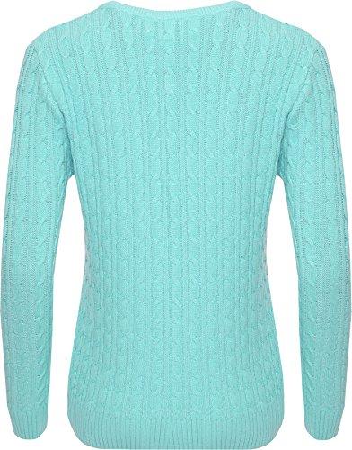 Chandail Longue Cavalier Tricoter 50 Lumi Cable WearAll Femmes Dames Turquoise Hauts 44 Femmes Manche Haut Tailles UB0tx8w