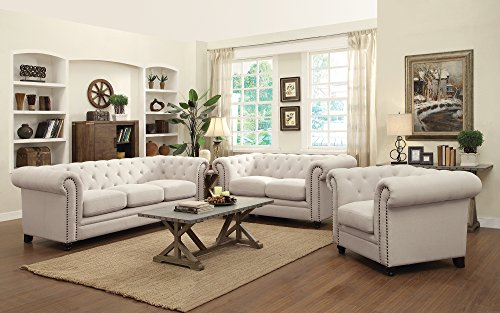 Coaster Roy Traditional Button Tufted Love Seat With Rolled Back And Arms  Oatmeal