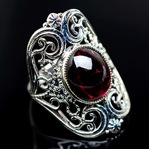 Ana Silver Co Garnet Ring Size 7 (925 Sterling Silver) - Handmade Jewelry, Bohemian, Vintage RING966935 from Ana Silver