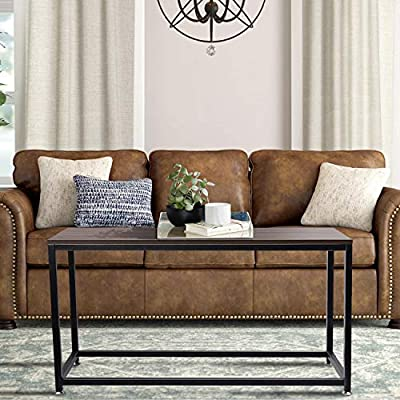 Yesker Coffee Table Rectangular Center Table With Wood And Mental Box Frame For Living Room 43 Rustic Brown