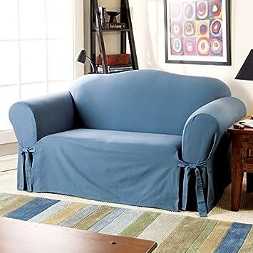 Sure Fit Cotton Duck   Sofa Slipcover   Bluestone (SF33055)
