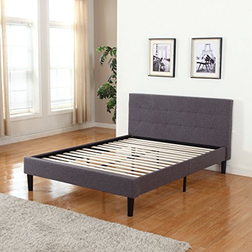 Divano Roma Furniture Deluxe Tufted Grey Platform Bed Frame with Wooden Slats (Full)