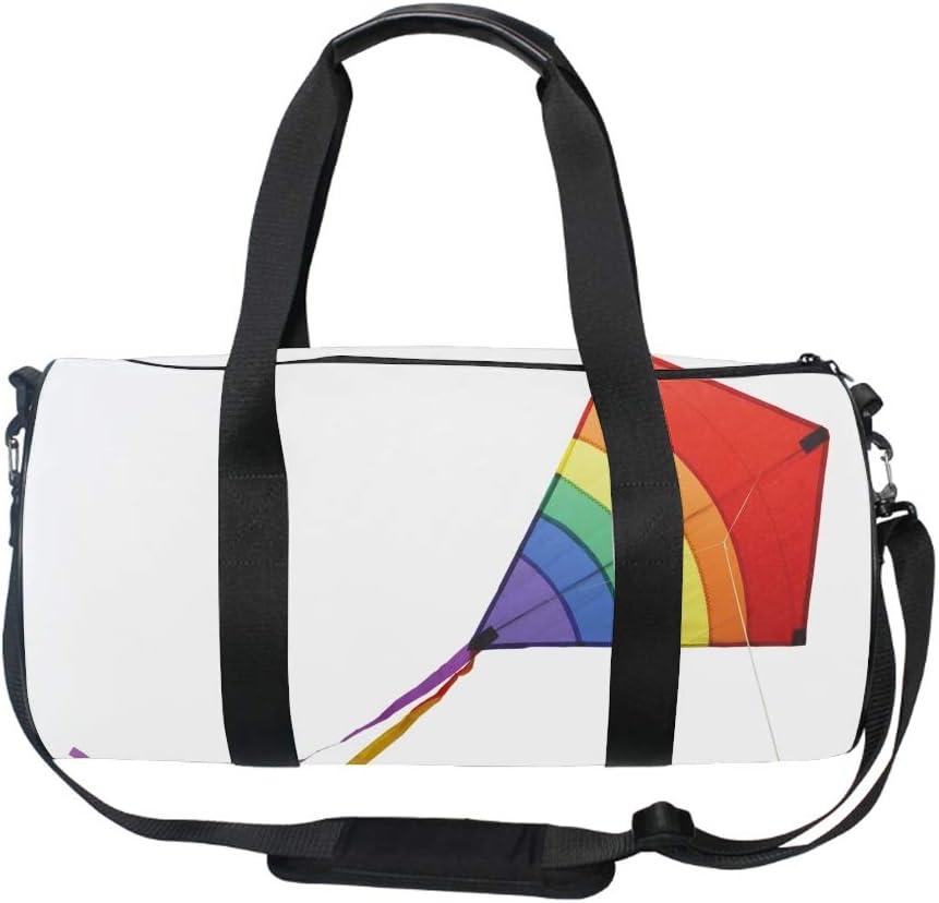 Round Rainbow Kite Gym Duffle Bag Drum tote Fitness Shoulder Handbag Messenger Bags