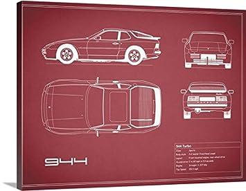 Mark Rogan Premium Thick-Wrap Canvas Wall Art Print entitled Porsche 944 Turbo - Maroon