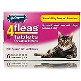 Johnsons 4fleas Tablets for Cats & Kittens, Starts Killing Fleas in 15min, 6 Tablets