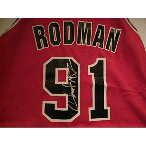 buy popular 030ed 43533 Dennis Rodman Autographed/Signed Chicago Bulls Jersey Size ...