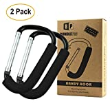 Pack of 2 XLarge Stroller Hook | Mommy Organizer for Hanging Diaper Shopping Bag
