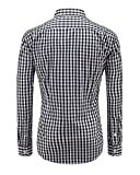 Emiqude Mens 100% Cotton Slim Fit Long Sleeve Plaid Button Down Dress Shirt