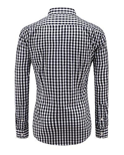 Emiqude Mens 100/% Cotton Slim Fit Long Sleeve Button-Down Plaid Dress Shirt