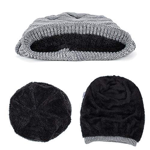 Tejida Yying Color sólido con de Invierno Gorrita Sombrero para Pliegues de de Caqui de Hombre Gorro Sombrero Lana Plisado wwr1t