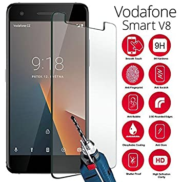 brand new 2e249 da604 (Pack Of 1) Vodafone Smart V8 Screen Protector, Tempered Glass Cover Ultra  Clear Anti Bubble Easy Apply 9H TEMPERED GLASS Anti-Scratch Shatter-Proof  ...