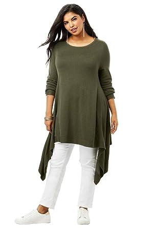 46f5ba5364b17 Roamans Women s Plus Size Fine Gauge Trapeze Sweater with Handkerchief Hem  - Dark Olive Green