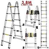 Homdox Aluminum Telescopic Ladder Folding ladder A Frame Multi-purpose Extendable Ladder 3.8m Maximum Loading 150kg (EN131/CE Certificate included)