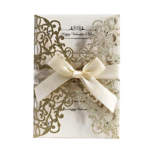 AdasBridal 50Pcs Glitter Floral Laser Cut Wedding Invitation Cards with Envelope Blank Inner Sheet and Ribbon for Wedding Engagement Bridal Shower Party Invite(7.09 X 4.92inch, Gold)