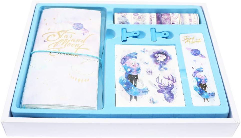 BITEYI Bullet Journal Kit,Dotted Notebook y Washi Tapes Pegatinas Decorativo de Color,Cinta Adhesiva Washi para Álbum de Recortes/Diarios (Cielo estrellado)
