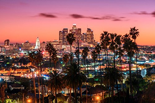 Los Angeles California Skyline at Sunset Photo Art Print Cool Huge Large Giant Poster Art 54x36 (Los Angeles Photo)