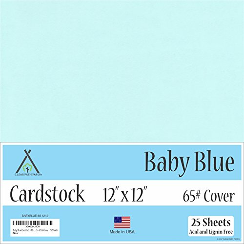 Baby Blue Cardstock - 12 x 12 inch - 65Lb Cover - 25 Sheets