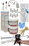 Swimming Pool Concrete Crack Repair Kit - DIY Polyurethane Foam Crack Injection Kit (White) - Permanently Repair 10' Leaking Pool Cracks in Concrete, Gunite and Fiberglass Pools