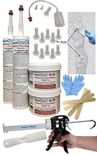 Swimming Pool Crack Repair - DIY Polyurethane Foam Crack Injection Kit Permanently Repairs 10' Cracks Leaks in Concrete, Gunite, Fiberglass Pools & Spas - AquaBond DMK-377