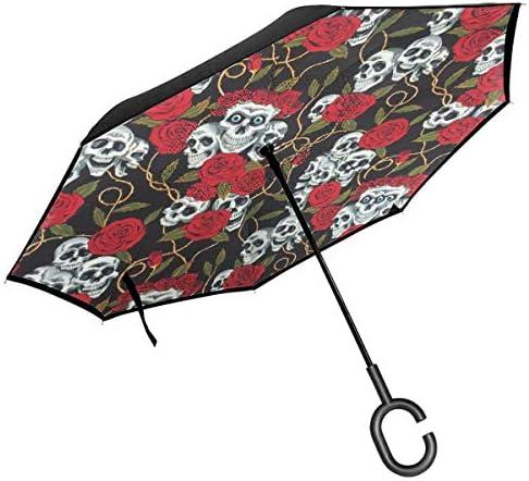 頭蓋骨とバラ 逆さ傘 逆折り式傘 車用傘 耐風 撥水 遮光遮熱 大きい 手離れC型手元 梅雨 紫外線対策 晴雨兼用 ビジネス用 車用 UVカット
