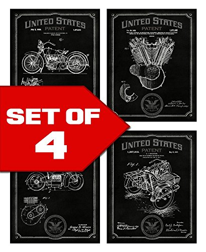 Wallables Midnight Black Vintage Harley Motorcycle Patents! Set of Four 8x10 Decorative Prints, Great for Bachelor pad, Office, Living Room.