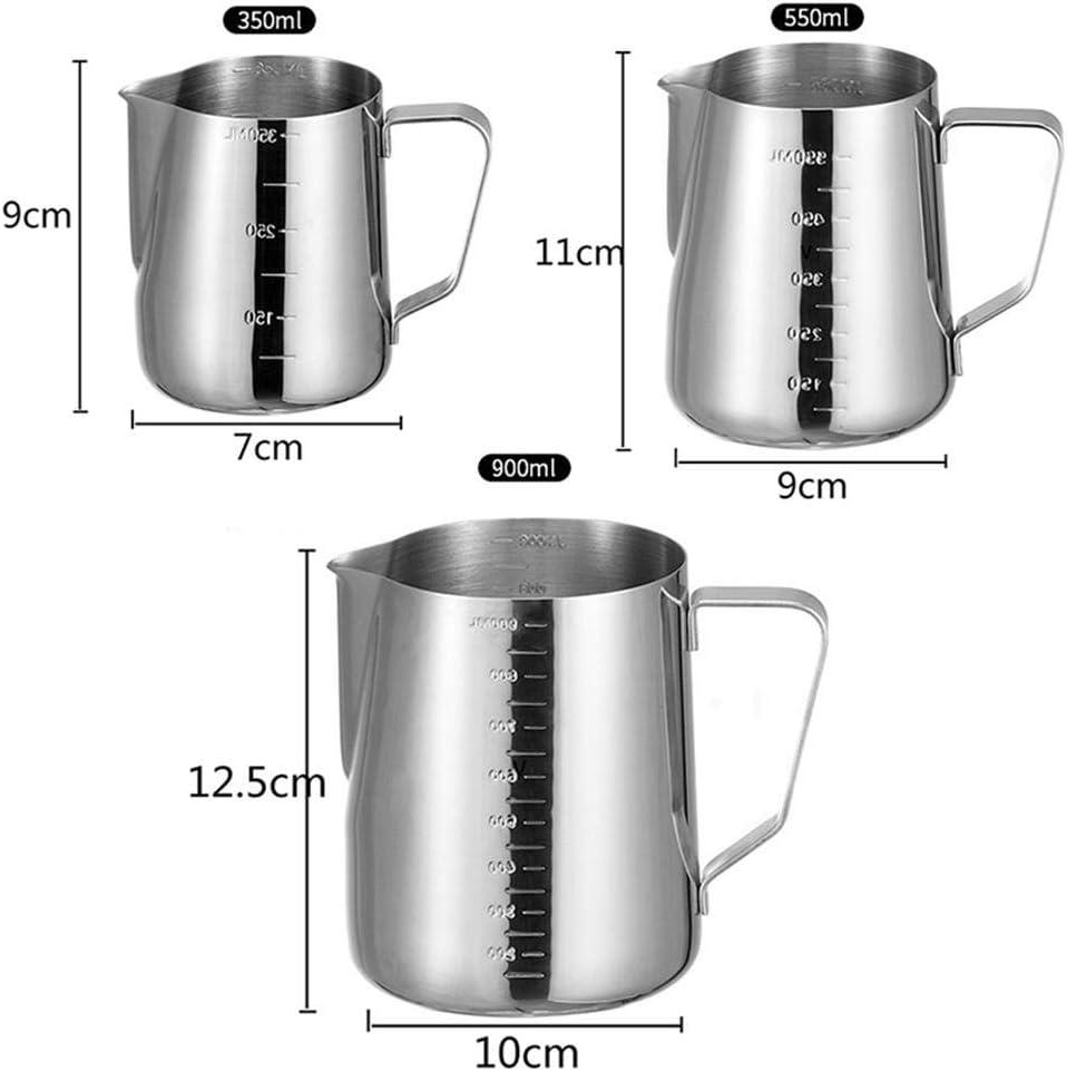 Jarra de caf/é Craft Latte Jarra de Espuma de Leche Jarra 350//550 900ml Taza de Leche de Acero Inoxidable Jarra de Espuma de Leche MZY1188 Jarra de Leche
