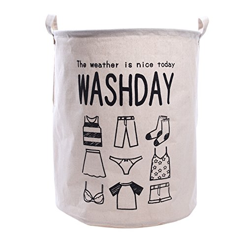 "19.7"" Large Laundry Hamper Bucket Waterproof Coating Cotton Linen Laundry Basket Collapsible Washing Basket Canvas Storage Basket Bin for Home, College and Camping (Wash Day)"