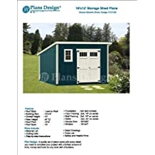 10' x 12' Deluxe Utility Garden Plans / Building Blueprints, Modern Roof Style Design #D1012M