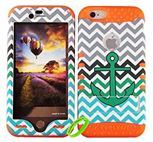 Cellphone Trendz New 3-piece HARD & SOFT RUBBER HYBRID ROCKER HIGH IMPACT PROTECTIVE CASE COVER for Apple iPhone 6 4.7 inch 6th Generation - Teal Anchor on Gray Green Chevron Chevron Hard Case Design on Orange Silicone