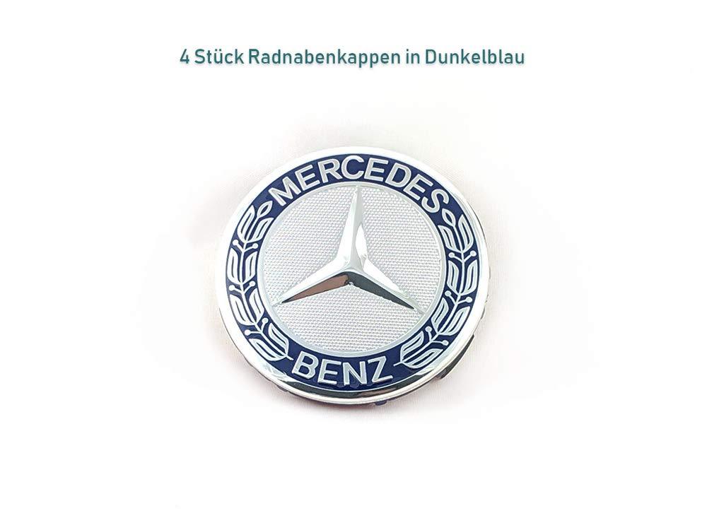 4 tapacubos estrella con corona de laurel azul oscuro efecto 3D para Mercedes Benz estrella con corona de laurel tapacubos, tapacubos, tapacubos, tapacubos, ...