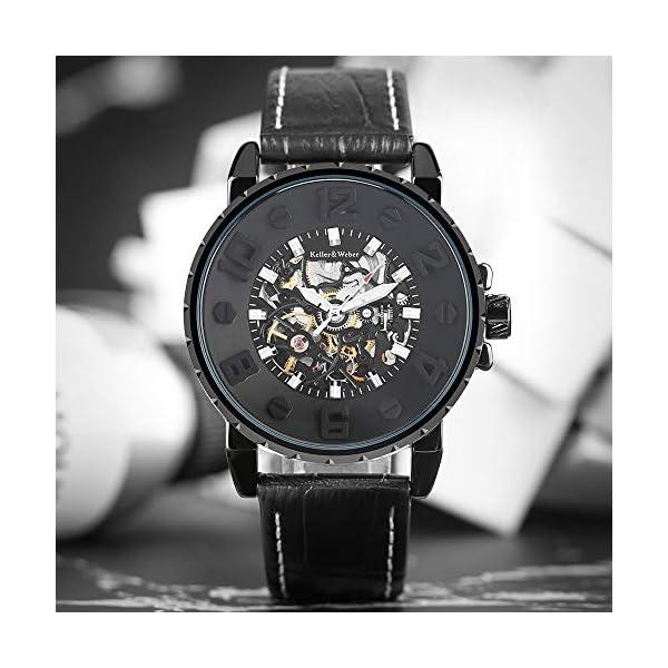 Clearance Watches for Men, Keller & Weber Luxury Watch, Automatic Mechanical Steampunk Gear Men Male Wristwatch 4