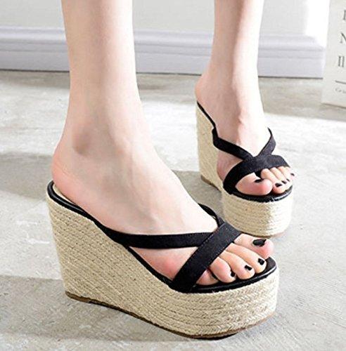 ZPPZZP Ms sandali pantofole spessa estate trascinare all'aperto a tacco alto 37EU nero