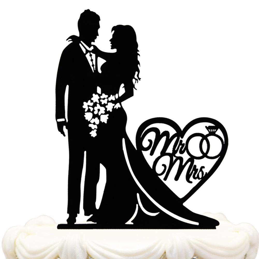 Mr and Mrs Cake Topper Acrylic Love Wedding Cake Topper Funny Bride and Groom Cake Topper (WE-01) Hatcher lee