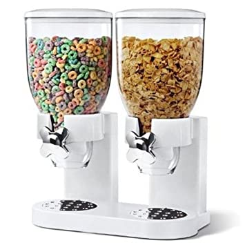 Dispensador de cereales de 500 g, doble dispensador de alimentos secos, color blanco,